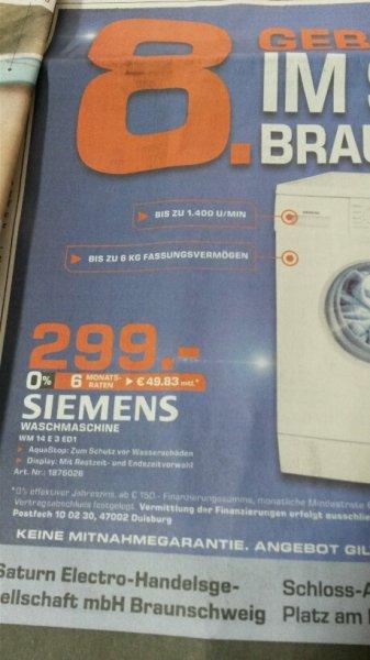 (Lokal Saturn Braunschweig) Siemens Waschmaschine WM14E3ED1 A+++ - 100 € unter Idealo