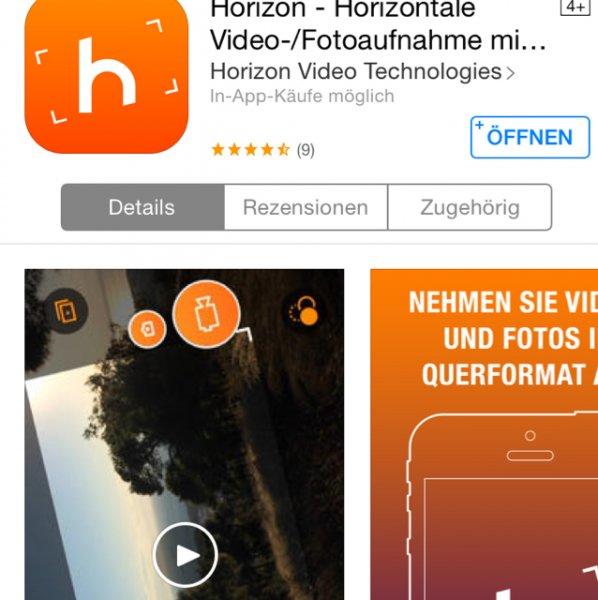Horizon - Horizontale Video-/ Fotoaufnahme mit 2k Auflösung [iOS]