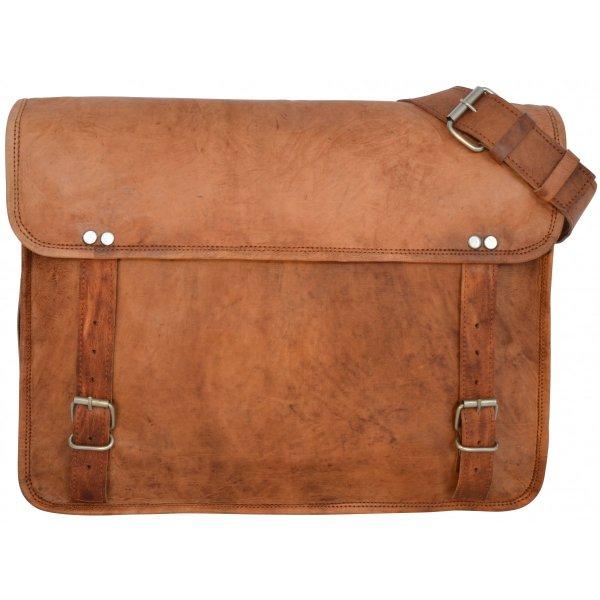 [Gusti Leder] Umhängetasche Collegetasche Messengerbag aus braunem Leder