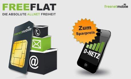 Ab 6,95 € rechnerisch monatl. Paketpreis für Allnet D-Netz freeFLAT by Klarmobil mit Internet Flat ab einmalig 6,95 €