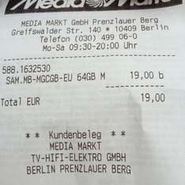 [MM Berlin] Samsung microSDXC Pro 64GB (evtl. lokal)