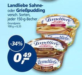 [KW12] Real, 6xLandliebe Sahne- oder Grießpudding verschied. Sorten für 1,94€ (0,32€ pro Becher) mit Coupon