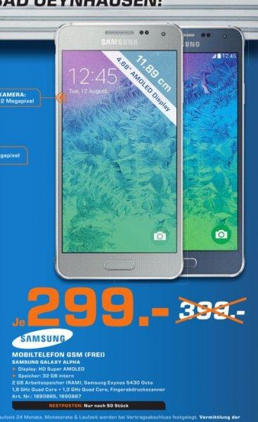 [Lokal Saturn Bad Oeynhausen] Samsung Galaxy Alpha,32GB für 299,-€....Achtung...Nur 50 Stück