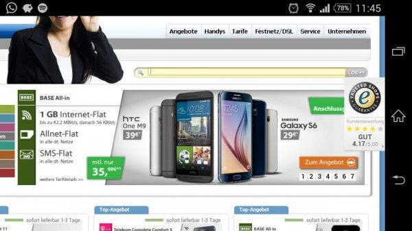 Samsung S6 oder HTC One M9 mit 1GB BASE