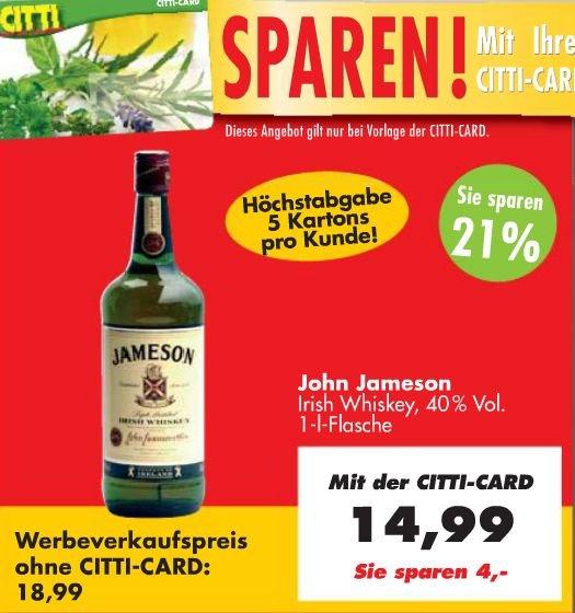 Jameson™ - Irish Whiskey 1,0 Liter für €14,99 [@Citti]