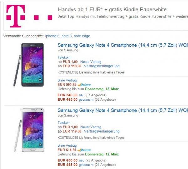 Telekom AllNet SMS Flat 1,5 GB LTE 50Mb/s + Galaxy Note 4 + Kindle Paperwhite 10000 BonusMailen+ 50€ Amazon +2 Jahre Telekom Hotspot Flat ×24 Monate = 1.199,80€ Tarif =13,30 Monat