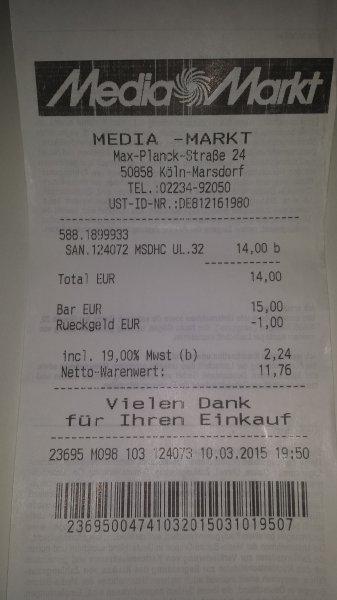 (MM lokal Köln) San Disk 32 GB Micro SDHC Karte