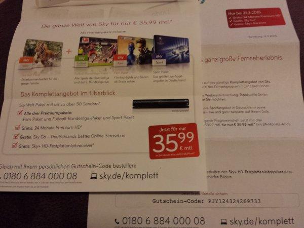 Sky Komplett inkl. HD für 35,99€ bis 31.03.2015