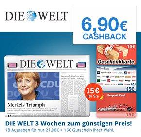 [Qipu] Die Welt: 18 Ausgaben zum Preis von 21,90€ + 15€ Gutschein + 6,90€ Cashback