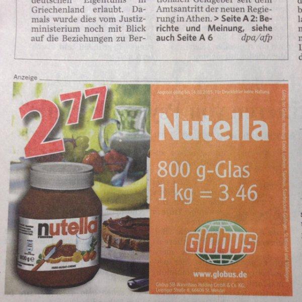 Nutella für 3.46 €/kg