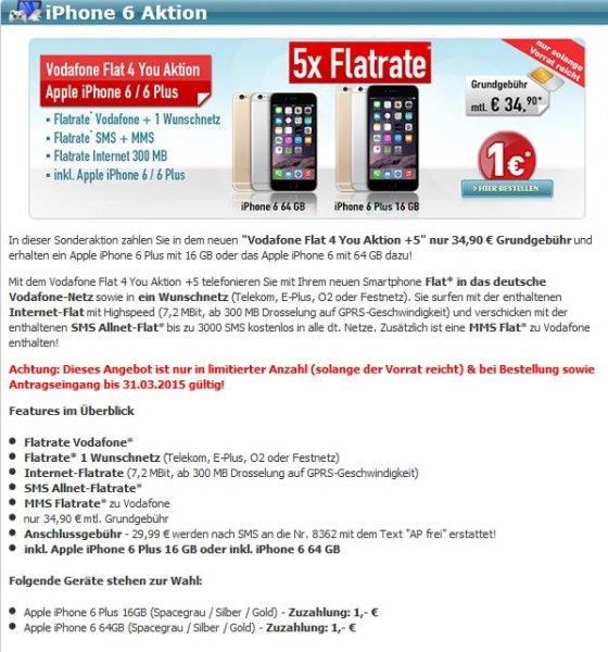 Flat 4 You Aktion +5 für 34,95 + 1€ für iPhone