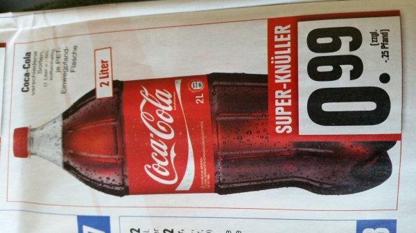 [Lokal Edeka Hessenring] Coca Cola, Fanta, Mezzo Mix, Sprite, etc. 2 Liter Flasche für 0.99 Euro (zzgl. 0.25 Euro Pfand) [Preis pro Liter 49.5 Cent]