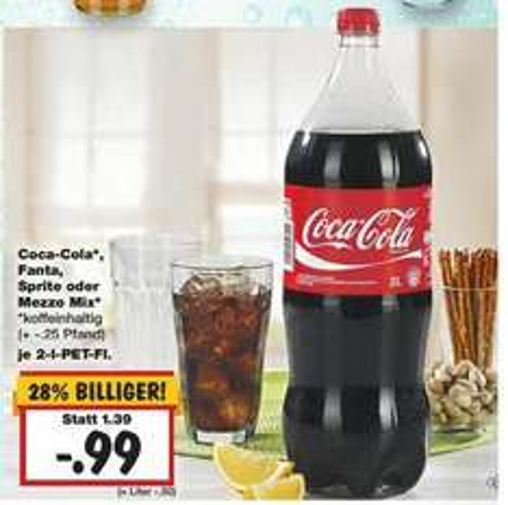 [KAUFLAND] Cola, Fanta, Sprite oder Mezzo-Mix, 2-Liter-Flasche  0,99 EUR (16.-21.03.)