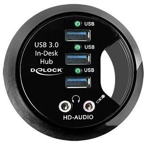 [Reichelt] USB 3.0 Desk HUB 3-Port, HD-Audio. USB Buchse in den Schreibtisch schrauben
