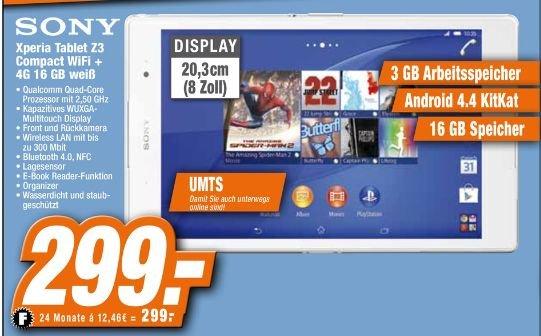 [Offline Expert.Technikmarkt Filialen] Sony Xperia Tablet Z3 Compact LTE weiss für 299,-€