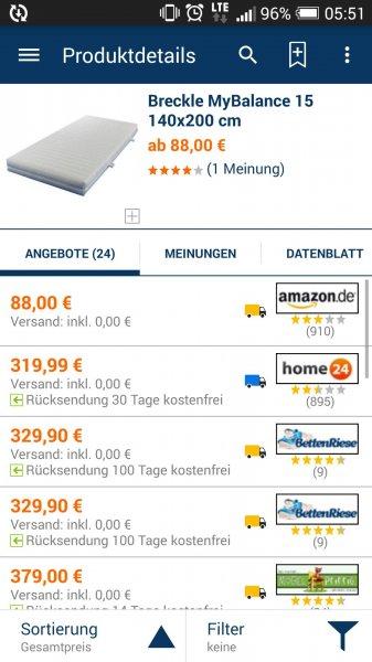 Matratze 88 Euro statt normal über 300