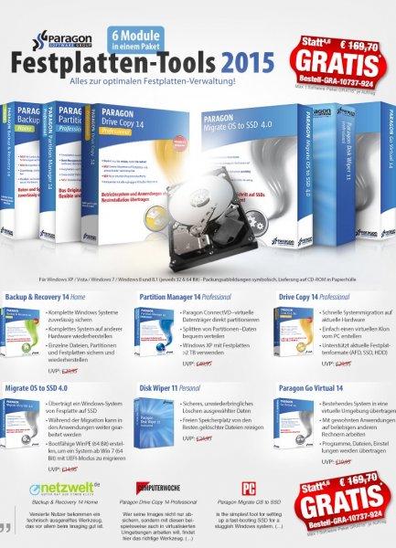 Paragon Festplatten-Tools 2015 Gratis bei Pearl + 4,90 EUR Versand