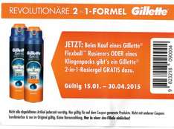 [DM] [BUNDESWEIT] Gillette 2 in 1 Rasiergel GRATIS bei Kauf eines Flexball Rasierers oder eines Klingenpacks