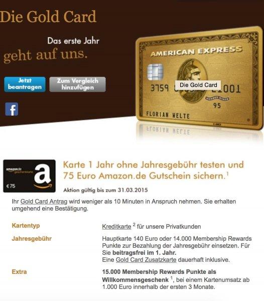 American Express Gold Card 1 Jahr kostenlos + 75 Euro Amazon Gutschein