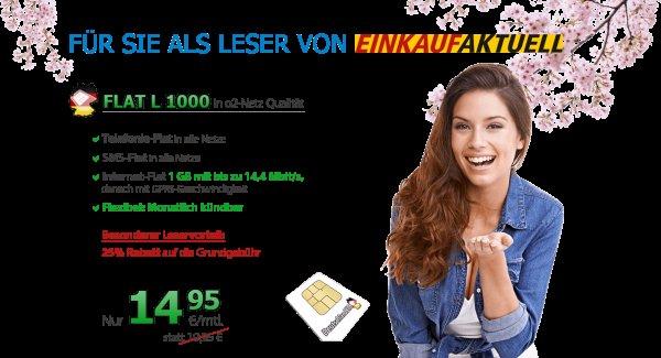 [DeutschlandSIM] o2 1GB Telefonflat SMS-Flat 14,95 monatlich kündbar