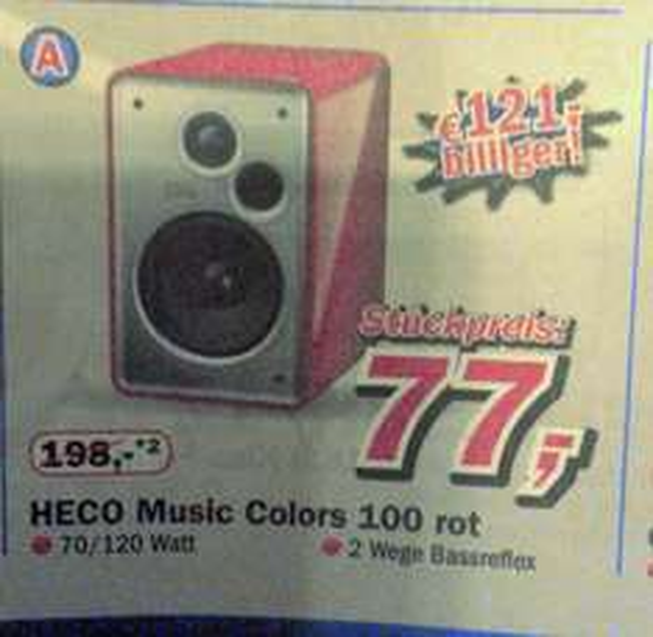 Telepoint 49661 Cloppenburg Heco Music Colours 100 rot 77€ Stück