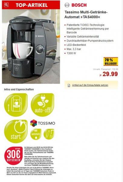 Tassimo AS4000 - 29,99€ + 30€ Online-Shop Gutschein