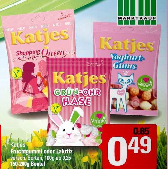 [Marktkauf]   Katjes Fruchtgummi oder Lakritz 175-200g für 0,49€ ab 16.03