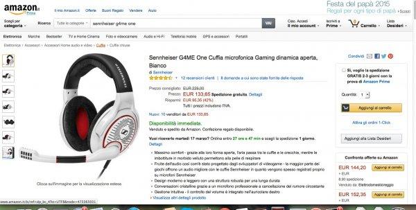 Sennheiser G4me One Headset Weiß für 136 € inkl. Versand bei Amazon Italien (Idealo:196€)