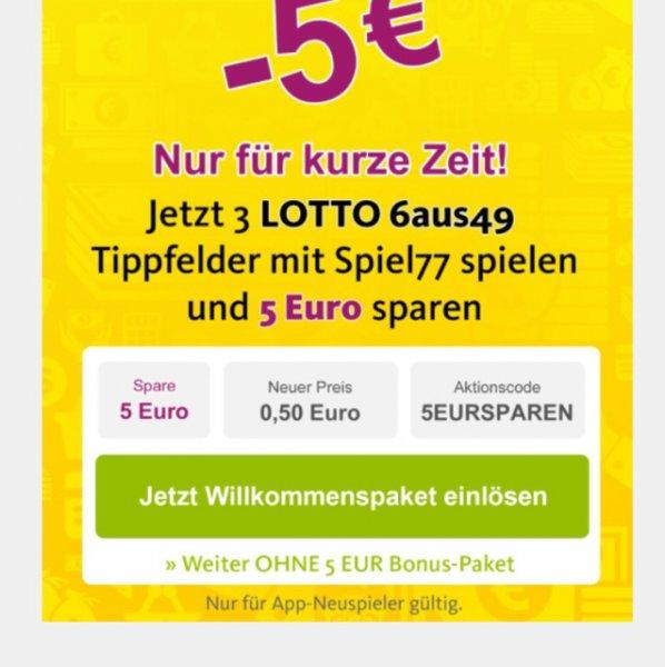 Lottoland 3x 6aus49 + Spiel 77 für App Neuspieler