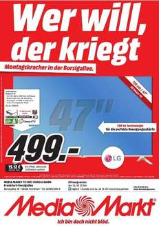 [Lokal Mediamarkt Frankfurt]LG 47LB679V, 119cm 3D Smart TV Local Dim­ming, 700Hz in­te­gr. Sub­woo­fer Magic Remote für 499,-€