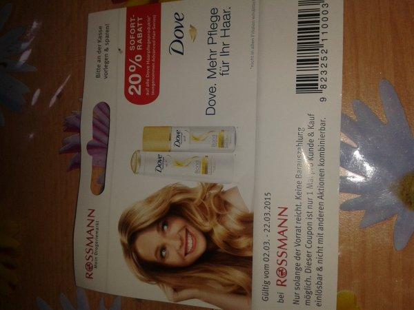 Rossmann 20% Sofortrabatt auf alle Dove Haarpflegeprodukte