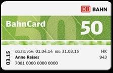 1 Jahr Bahncard 50 für 60 Euro, BC 25 für 20 Euro [Studenten, Schüler, Azubis]