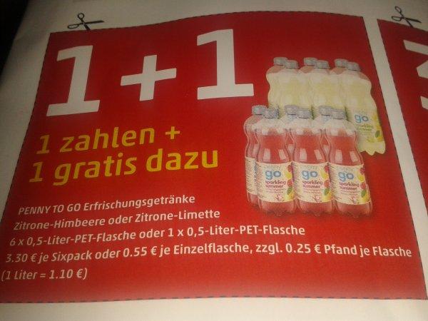 PENNY (BUNDESWEIT ) 2×6 Flaschen penny to go Erfrischungsgetränk kaufen nur ein 6er bezahlen.