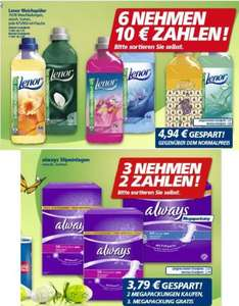 [REAL]  LENOR 6 Flaschen kaufen = 0,50 €/Flasche, 3 Always Slipeinlagen MEGA Packungen kaufen = 0,53€/MegaPackung bezahlen (23.-28.03.)