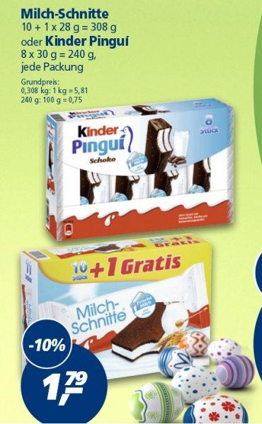 [Real]  11 Milchschnitte für 1,79 oder Kinder Pingui 8Stück für 1,79