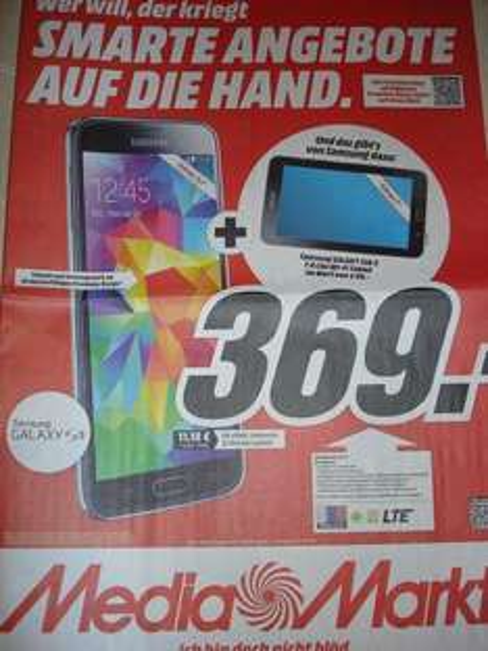 (LOKAL Media Markt Lüneburg) - Samsung Galaxy S5 + Galaxy Tab 3 7.0 lite für 369,-