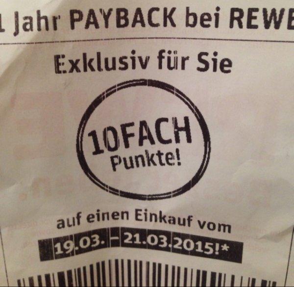 """1 Jahr Payback   bei REWE  """"10 Fach Punkte """" REWE Bundesweit"""