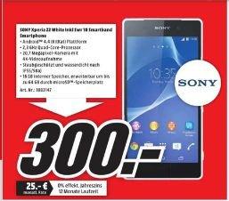 [Lokal Mediamarkt Mülheim/Ruhr-Dümpten] Sony Xperia Z2 - Weiß - 4G HSPA+ - 16 GB - 5.2 Zoll - TFT - GSM - Android Phone + Sony Smartband SWR10 schwarz  für 300,-€