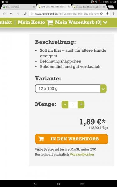 Preisfehler? Hundeland.de Rinti Extra Mini Bits 12x100g für 1,89 Euro