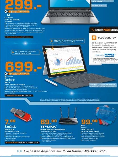 [Lokal Saturn Köln] - Surface Pro 3 (Intel Core i5, 4 GB Ram, 128 GB SSD) für 699 Euro