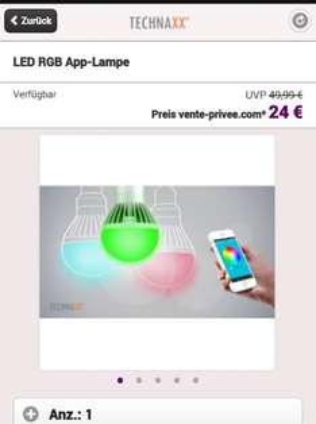 LED RGB App-Lampe für 24€ @Ventee Privee