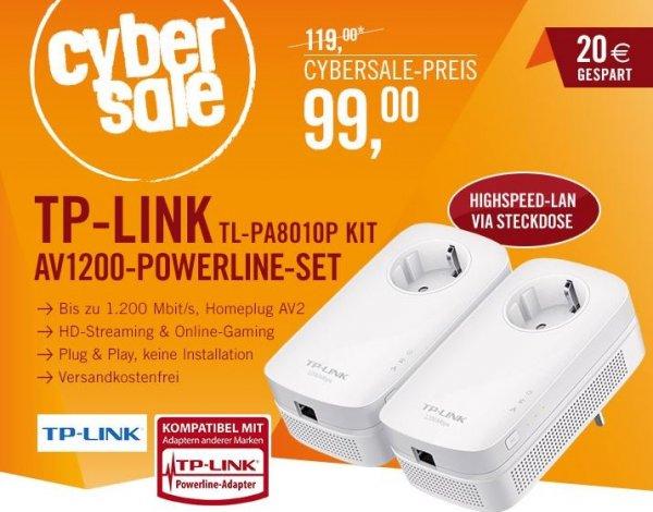 TP-LINK TL-PA8010P KIT AV1200 Powerline Kit mit Frontsteckdose & 1x Gigabit LAN@Cyberport 99 €
