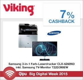 Samsung 3-in-1 Farb-Laserdrucker+ Samsung 22″ LCD für 338,13€ statt 519,38€ +7% Cashback bei Viking