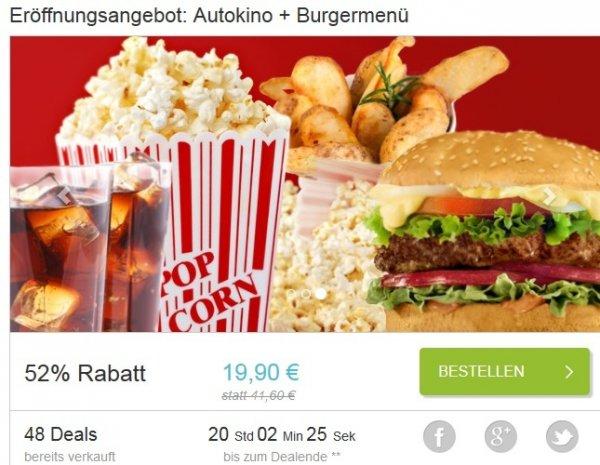 [lokal Berlin-Tegel] Gutschein für 2 Kinokarten für das Bärliner Autokino inkl. 2 Burger-Menüs mit Potato-Wedges und 2x 0,5l Cola + 2x Popcorn für 19,90€ @ dailydeal