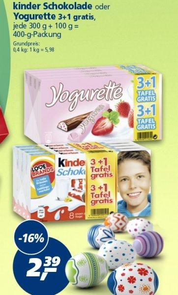 [Real] 4 Tafeln Kinderschokolade / Yogurette für 2,39€ macht einen Stückpreis von 60 Cent ab 23.03.2015