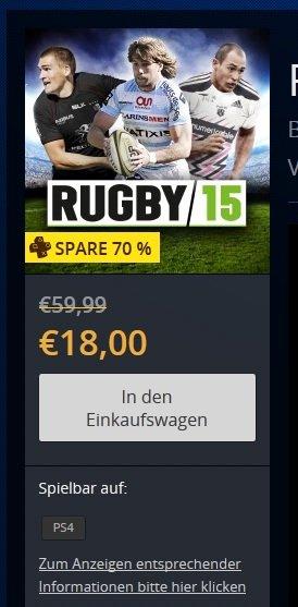 PSN | PS4-Deal der Woche | Rugby 15 | 18 € statt 59.99€
