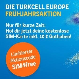 Turkcell Freikarte mit 10€ Guthaben* ( 7,50 € sofort + 2,50 € nach Aufladung)