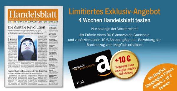 21 x Handelsblatt mit effektiv 3,10 € Gewinn bei Bankeinzug @MagClub