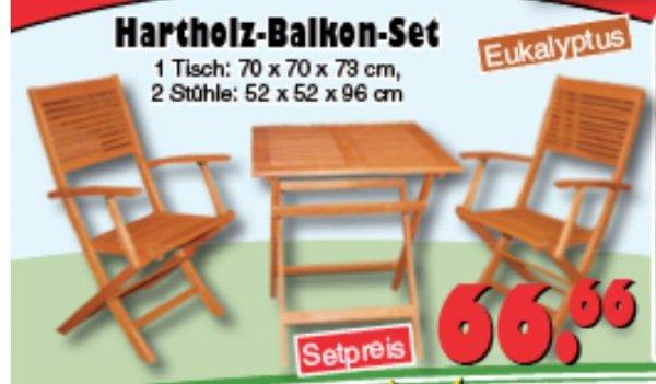 [JAWOLL] 3 teiliges Balkonmöbel oder Gartenmöbel Set Eukalyptus 66,66€