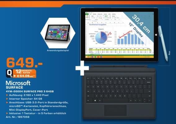 [Lokal - Braunschweig] Surface 3 Pro - 64 GB - inkl. Tastatur - 649,--